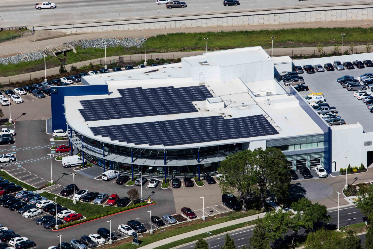 Commercial roof with solar panels